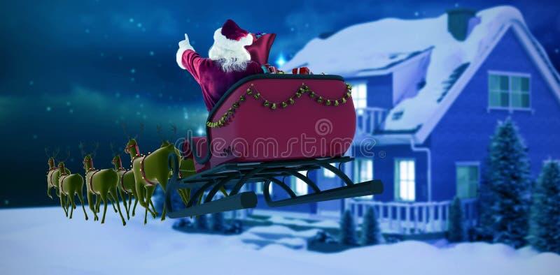 Samengesteld beeld van de Kerstman die op ar tijdens Kerstmis berijden stock illustratie
