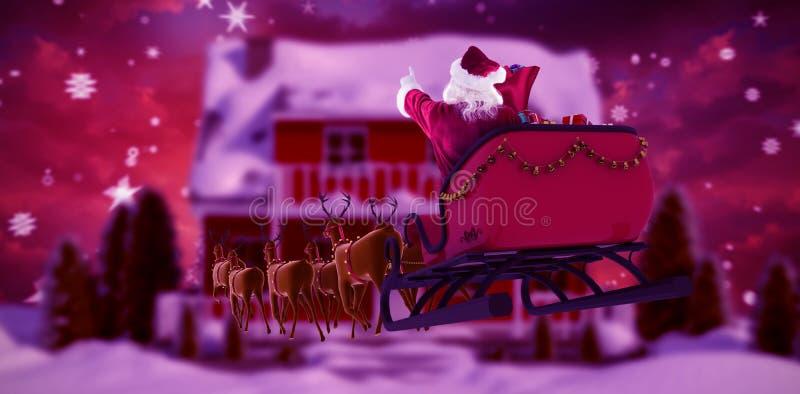 Samengesteld beeld van de Kerstman die op ar tijdens Kerstmis berijden vector illustratie