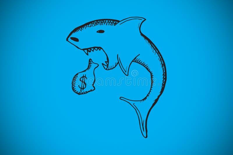 Samengesteld beeld van de krabbel van de leningshaai vector illustratie