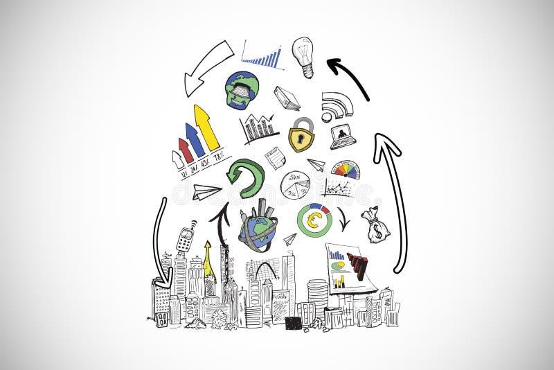 Samengesteld beeld van de krabbels van de gegevensanalyse over cityscape vector illustratie