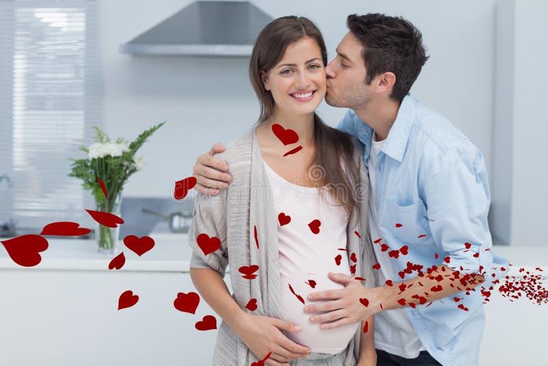 Samengesteld beeld van de mens die zijn zwangere vrouw kussen vector illustratie