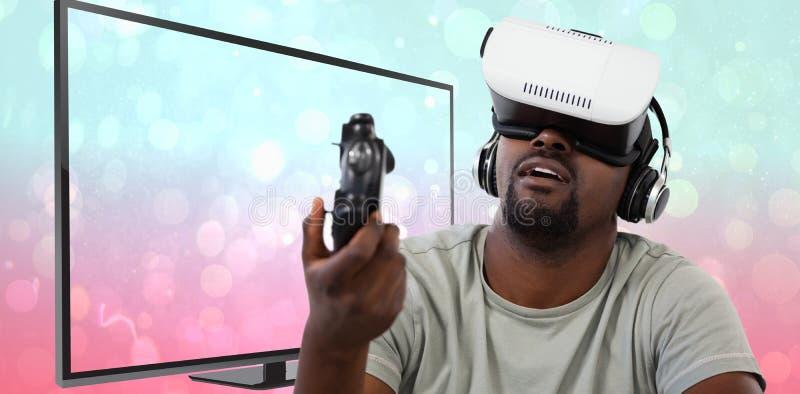 Samengesteld beeld van de mens gebruikend virtuele werkelijkheidshoofdtelefoon en spelend videospelletje stock foto