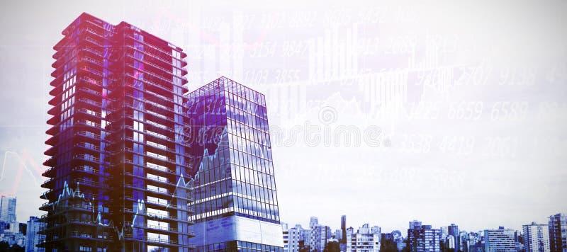 Samengesteld beeld van de samengestelde gebouwen van het beeldofâ 3d bureau stock illustratie