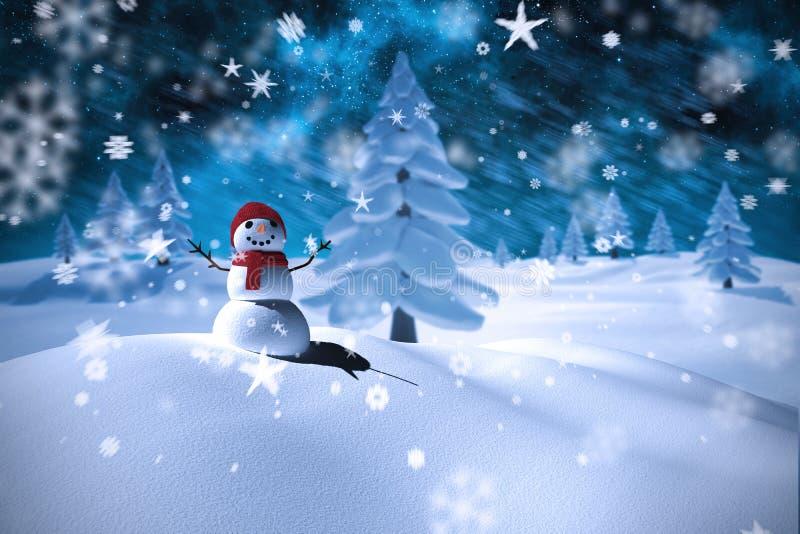 Samengesteld beeld van de sneeuwmens stock illustratie