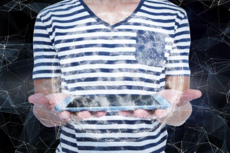 Samengesteld beeld van dichte omhooggaand van de tablet van de mensenholding stock foto