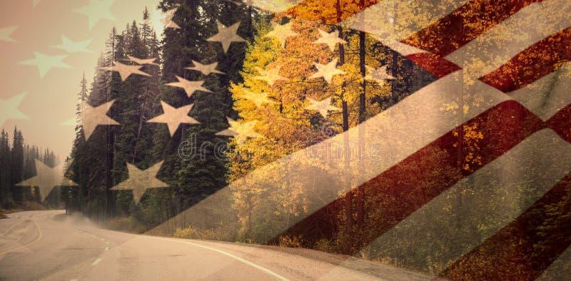 Samengesteld beeld van dichte omhooggaand van ons vlag stock illustratie