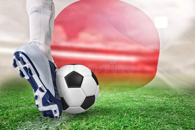 Samengesteld beeld van dichte omhooggaand van voetbalster het schoppen bal stock illustratie