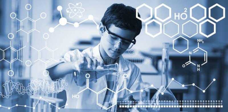 Samengesteld beeld van digitaal beeld van chemische structuur stock illustratie