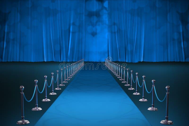Samengesteld beeld van digitaal geproduceerd beeld van blauwe tapijtgebeurtenis stock illustratie