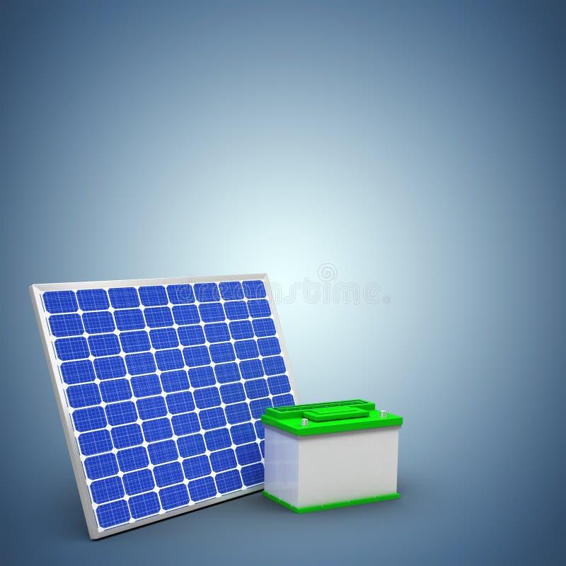Samengesteld beeld van digitaal geproduceerd beeld van 3d zonnepaneel met batterij stock illustratie