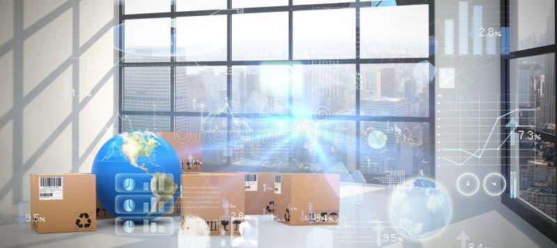 Samengesteld beeld van digitaal geproduceerd beeld van 3d zonnepaneel met batterij vector illustratie