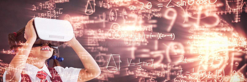 Samengesteld beeld van digitaal geproduceerd beeld van trigonometrische vergelijkingen met oplossing stock illustratie