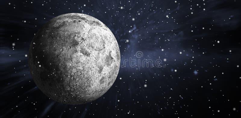 Samengesteld beeld van digitaal geproduceerde volledige grijze maan royalty-vrije illustratie