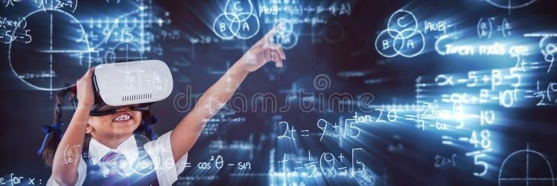 Samengesteld beeld van digitaal samengesteld beeld van wiskundige vergelijkingen met diagram vector illustratie