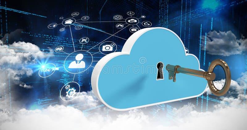 Samengesteld beeld van diverse pictogrammen en wolken over 3d codage stock fotografie