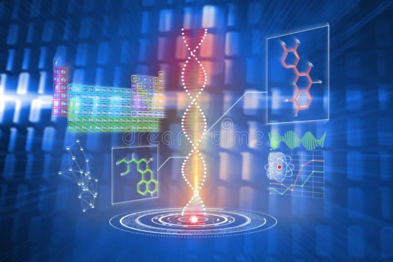 Samengesteld beeld van DNA-schroefinterface stock illustratie