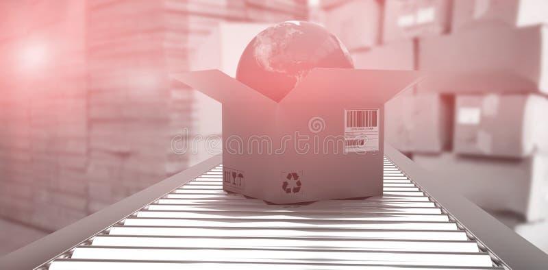 Samengesteld beeld van doos met bol op 3d transportband stock illustratie