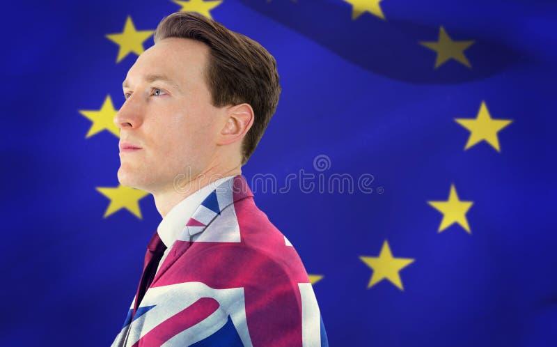 Samengesteld beeld van een nadenkende zakenman die weg kijkt stock foto