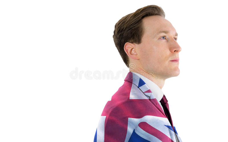 Samengesteld beeld van een nadenkende zakenman die weg kijkt royalty-vrije stock afbeelding