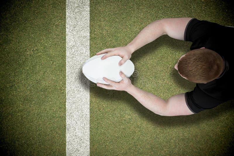 Samengesteld beeld van een rugbyspeler die een poging noteren stock afbeeldingen