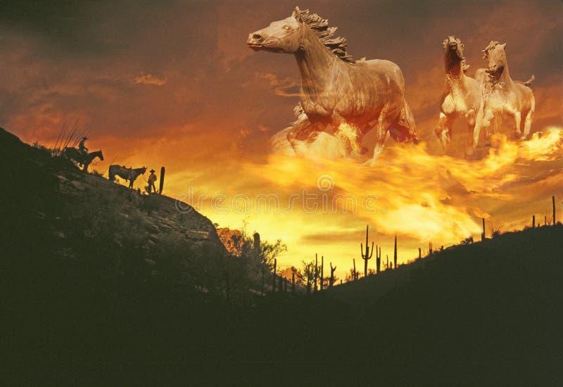 Samengesteld beeld van een zonsondergang in de westelijke woestijn met vurige spectrale spookpaarden in de hemel stock foto's