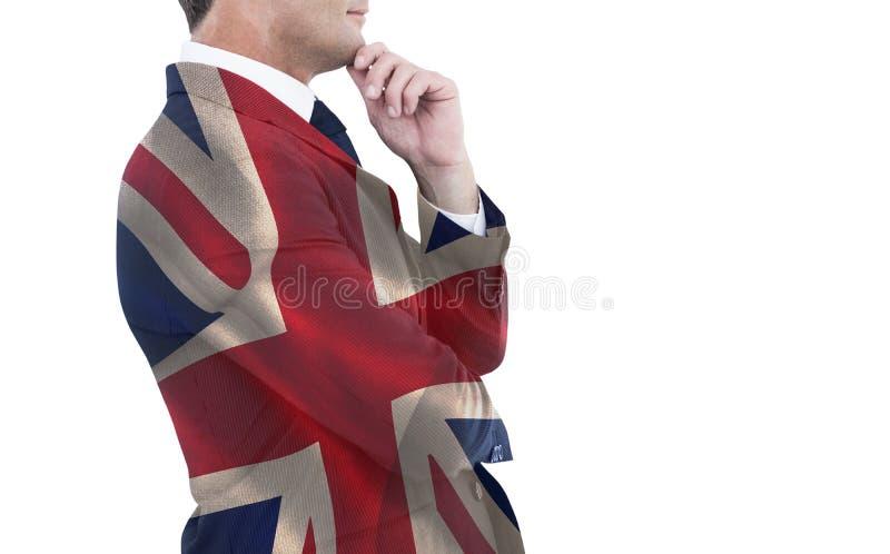 Samengesteld beeld van elegante zakenman in kostuum het stellen royalty-vrije stock foto