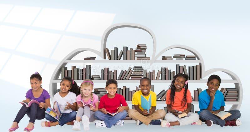 Samengesteld beeld van elementaire leerlingen die boeken lezen stock afbeeldingen
