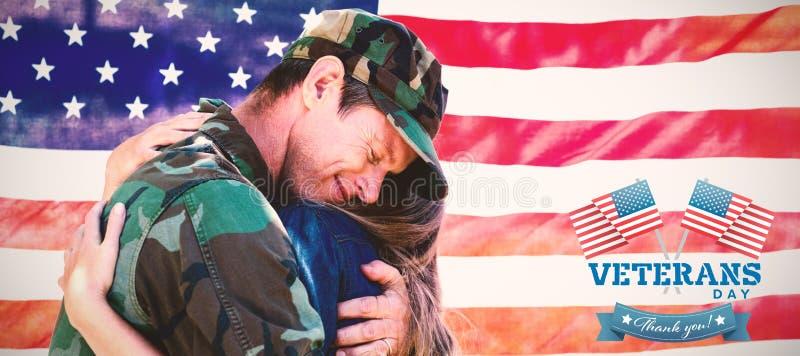 Samengesteld beeld van embleem voor veteranendag in Amerika stock illustratie