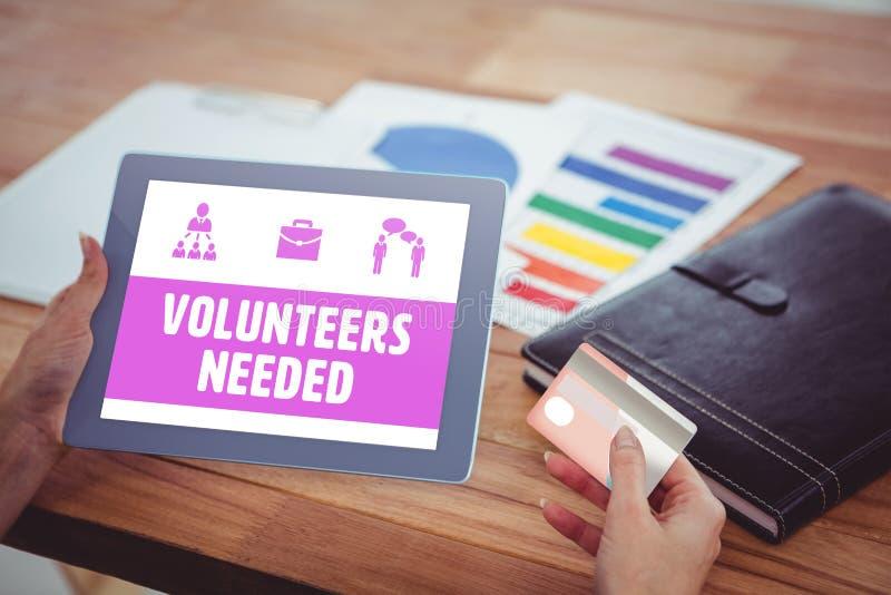 Samengesteld beeld van gele nodig vrijwilligers stock afbeeldingen