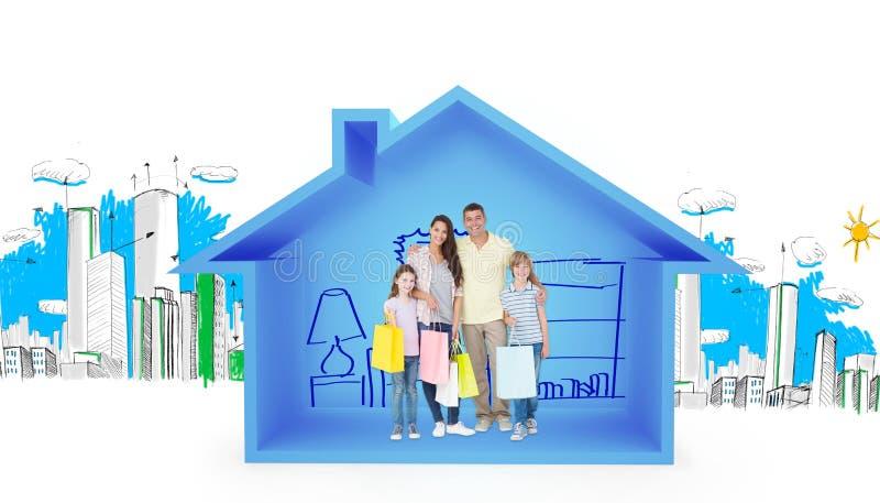 Samengesteld beeld van gelukkige familie dragende het winkelen zakken stock foto