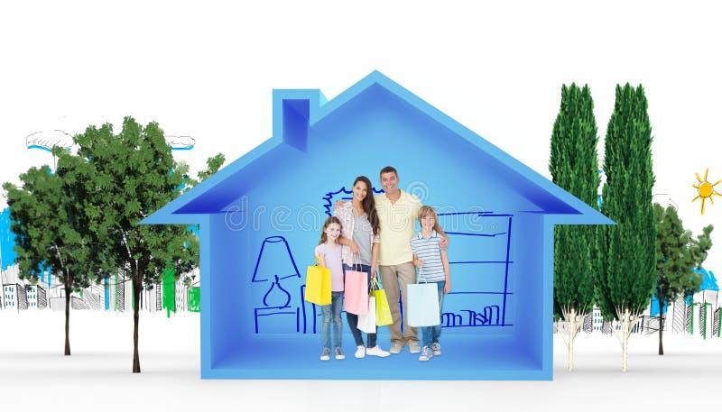 Samengesteld beeld van gelukkige familie dragende het winkelen zakken royalty-vrije stock afbeelding