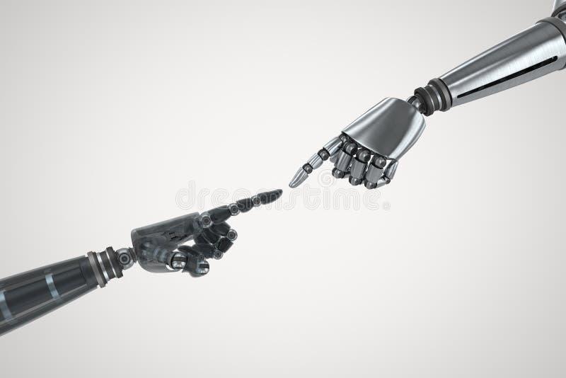 Samengesteld beeld van glanzende zwarte hand van robot royalty-vrije stock afbeeldingen