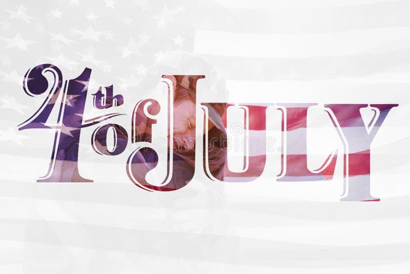Samengesteld beeld van golvende vlag van Amerika royalty-vrije illustratie