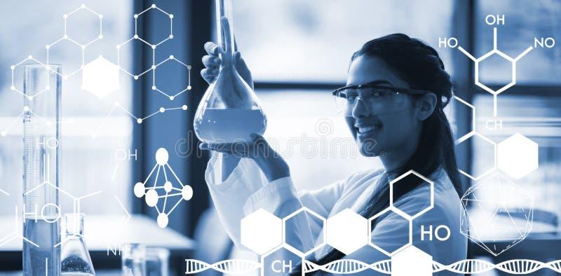 Samengesteld beeld van grafisch beeld van chemische structuur vector illustratie