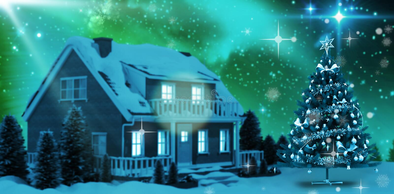 Samengesteld beeld van grafische Kerstmisboom stock illustratie