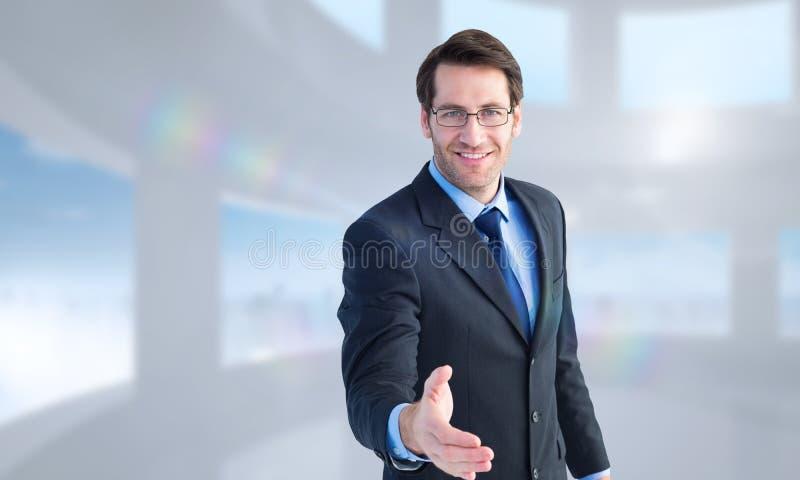 Samengesteld beeld van hand die door glimlachende zakenman worden aangeboden stock foto's