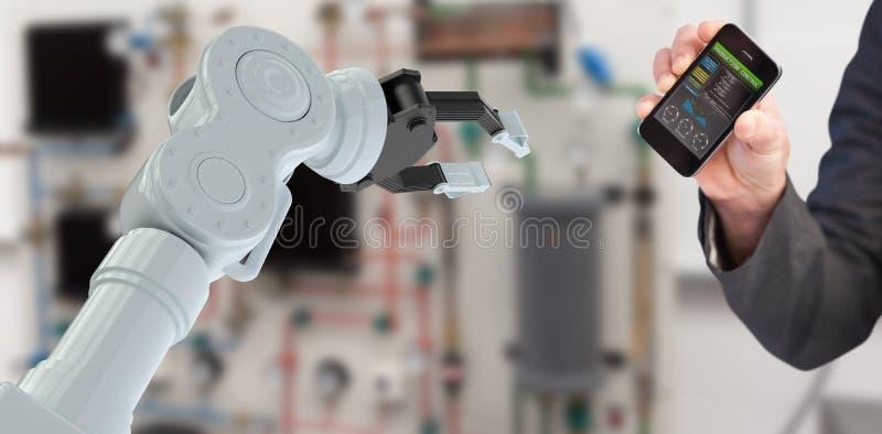 Samengesteld beeld van hand die van zakenman 3d smartphone tonen vector illustratie