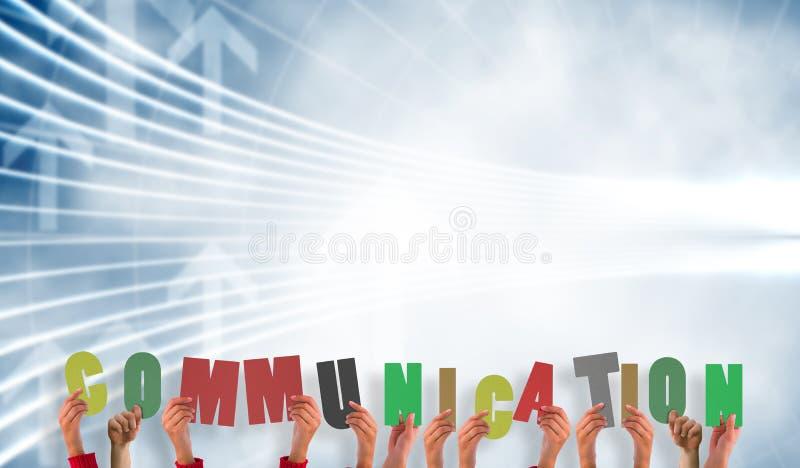 Samengesteld beeld van handen die mededeling tonen royalty-vrije illustratie