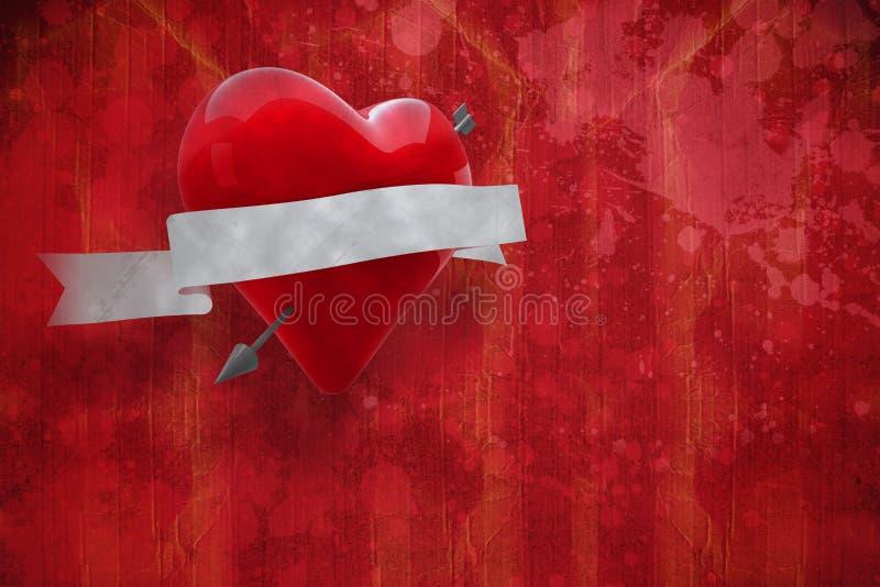 Samengesteld beeld van hart met 3d rol stock foto