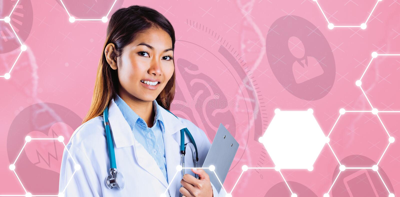 Samengesteld beeld van het Aziatische klembord van de artsenholding royalty-vrije stock fotografie
