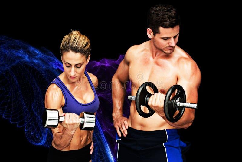 Samengesteld beeld van het bodybuilding van paar vector illustratie