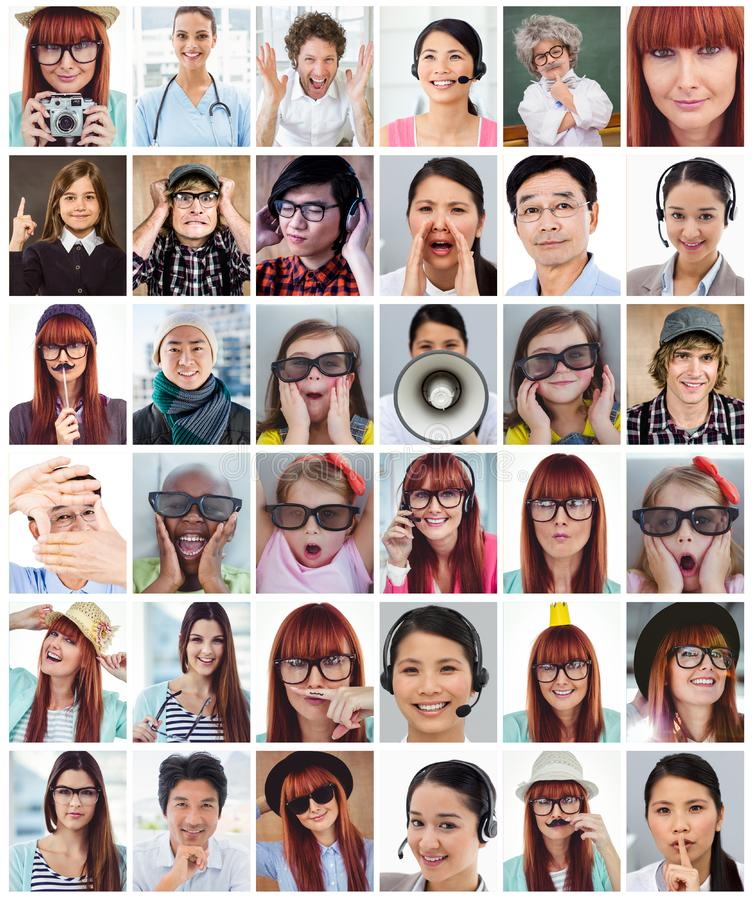 Samengesteld beeld van het charmeren van onderneemster die om stilte vragen royalty-vrije stock foto's