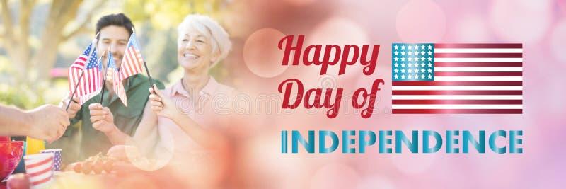 Samengesteld beeld van het gelukkige bericht van de onafhankelijkheidsdag over witte achtergrond vector illustratie