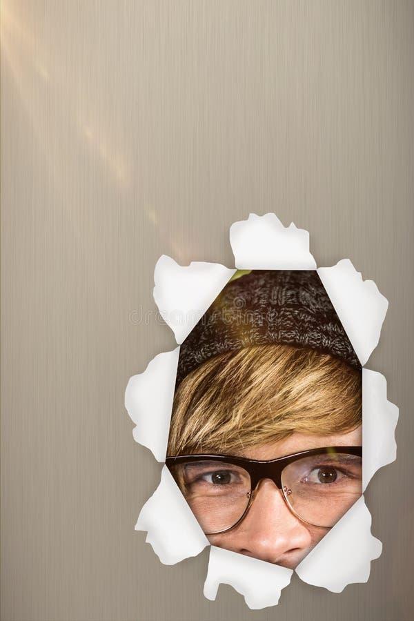 Samengesteld beeld van het gelukkige blonde hipster 3d glimlachen stock afbeelding