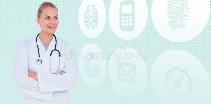 Samengesteld beeld van het glimlachen van vrouwelijke gekruiste artsen bevindende wapens stock afbeelding