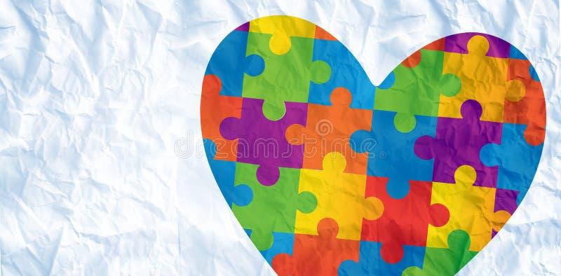Samengesteld beeld van het hart van de autismevoorlichting vector illustratie