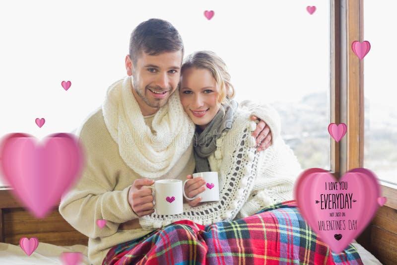 Samengesteld beeld van het houden van van paar in de winterslijtage met koppen tegen venster royalty-vrije illustratie