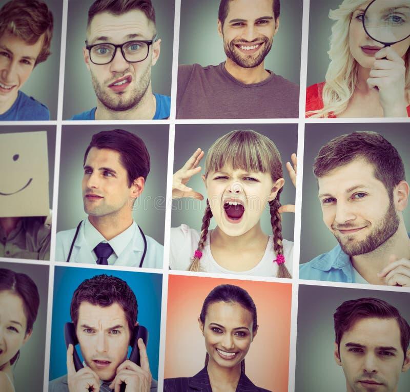 Samengesteld beeld van samengesteld beeld van het jonge zakenman kijken stock foto's