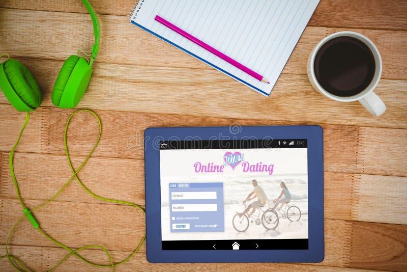 Samengesteld beeld van het online dateren app stock fotografie