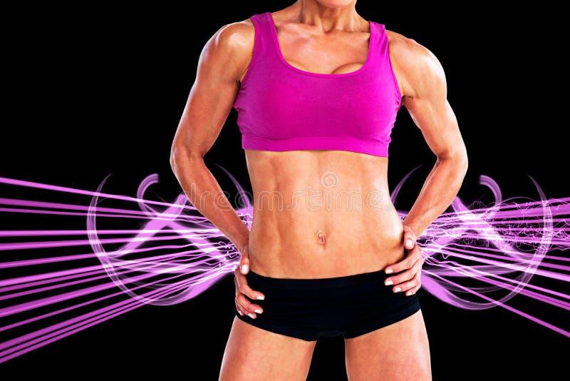 Samengesteld beeld van het vrouwelijke bodybuilder stellen met handen op heupen medio sectie royalty-vrije illustratie